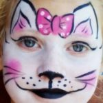 Нарисовать мордочку кошки на лице ребенка поэтапно
