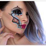Простой макияж на хэллоуин скелет