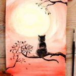 Как нарисовать черного кота на хэллоуин